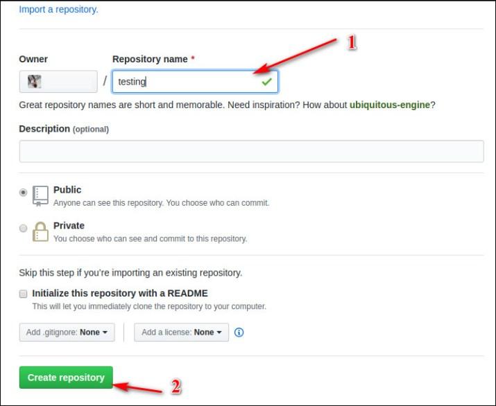 Halaman pengaturan repository GitHub