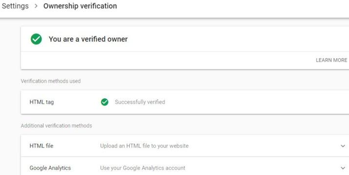 Laporan keberhasilan verifikasi Google Search Console.