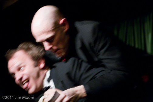 Co-hosts Andy Sapora and John Leo fighting over who hosts the show.