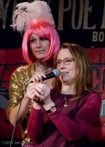 Debra Emerson picks the Raffle ticket winner at Loose Caboose