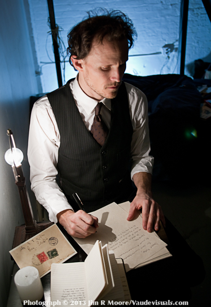 Drew Valins performing in his one-man show 'Kafka's Bed'.