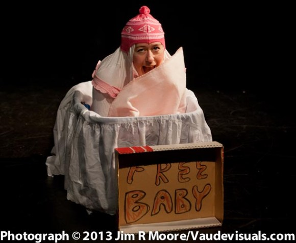 Audrey Crabtree performs as a abandon baby.