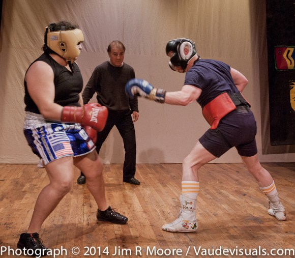 David Leslie in a boxing match at The Full Moon Show