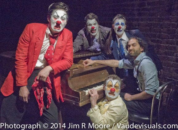 A posed shot of the cast from Four Clowns at LaMama