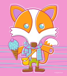 Junior fox with ice cream and scarf