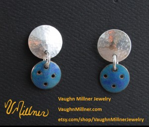 Sterling with Blue Enamel Drops