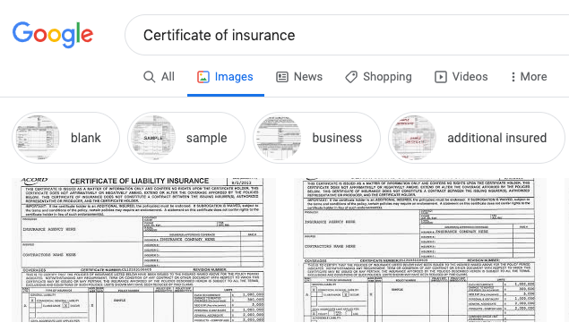 Certificate of insurance google search