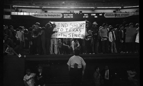 "Senators Fans with Sign ""Send Short to Texas Keep the Senators"", September 30, 1971"