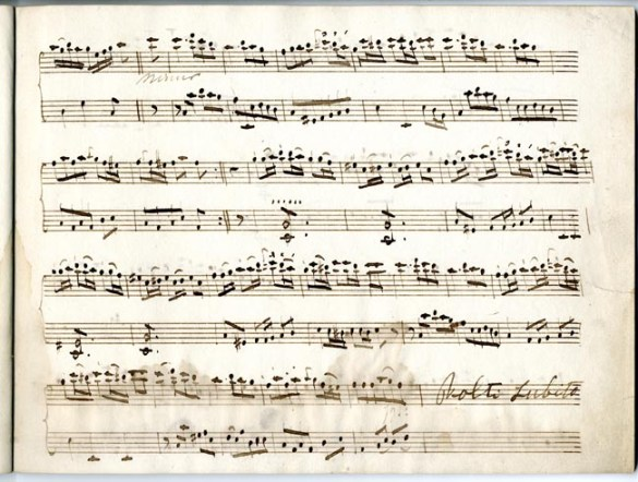 Page seven of Three solos for the violoncello with accompaniment for a bass by Johan Arnold Dahmen. Special Collections and Archives, George Mason University.