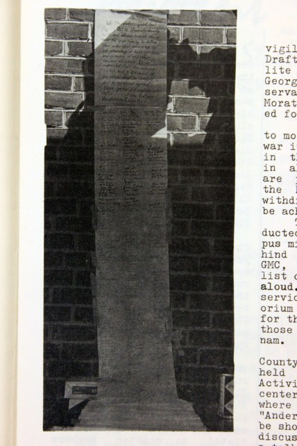 Vietnam War Moratorium petition photographed while taped to the wall of an unidentified George Mason College building. From The Gunston Ledger, Volume 7, Number 4. October 14, 1969.