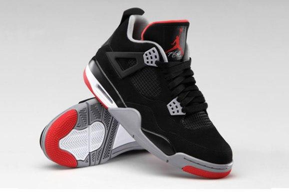 Air Jordan 4 Retro Black Cement Grey Fire Red