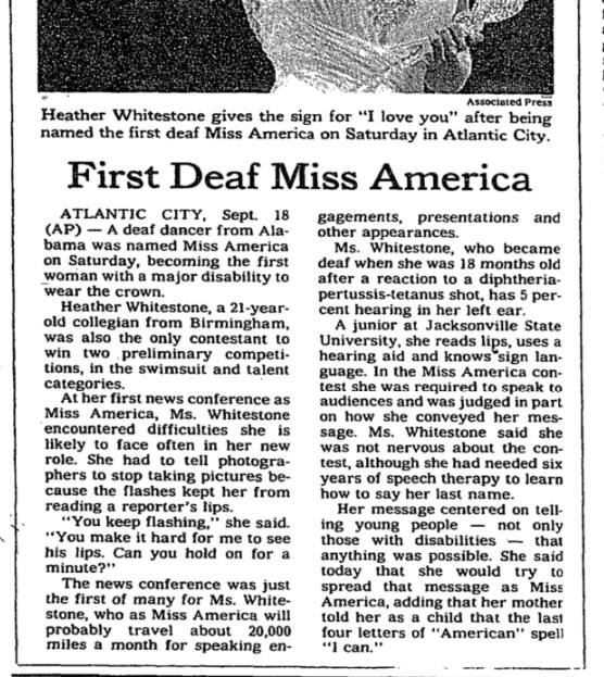 The New York Times did a report about the First Deaf Miss America, saying a reaction to a DPT shot - she didn't.