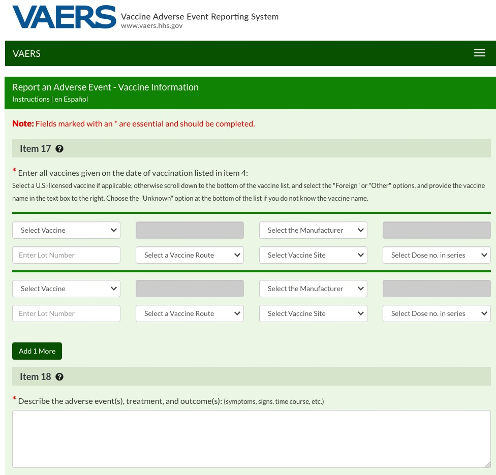 All of these vaccine adverse events can be reported to VAERS online or using a downloadable form.