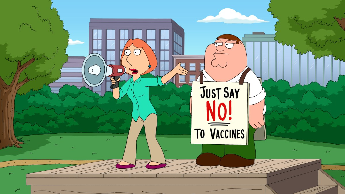 Lois and Peter are alone at their anti-vaccine rally, but still manage to trigger a measles outbreak at Stewie's daycare.