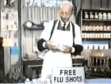 Sam Drucker gave everyone free flu shots at his general store to prevent a flu epidemic in Petticoat Junction.
