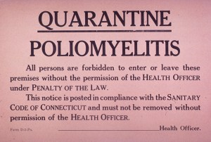 Polio quarantine sign