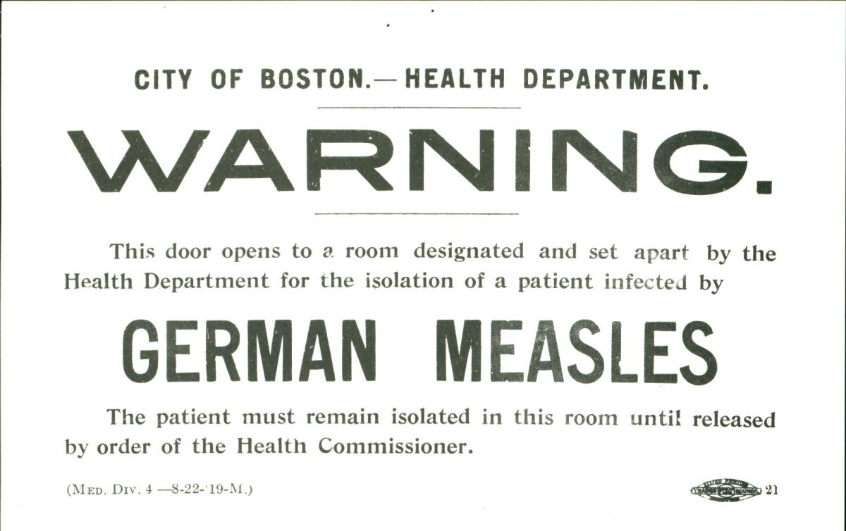 Rubella quarantine sign.