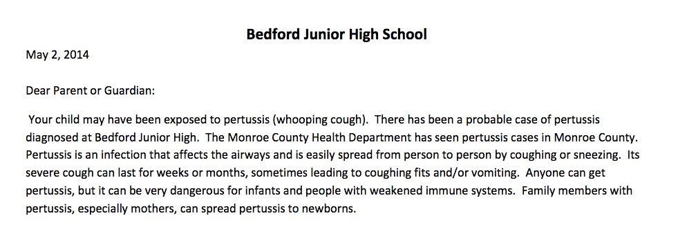 Have you gotten a letter from your child's school about pertussis yet?