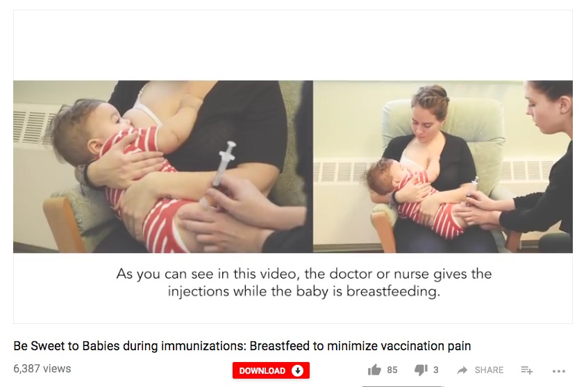The Be Sweet to Babies videos can help you see the benefits of breastfeeding while your kids get their vaccines.