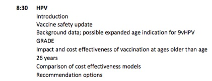 The extended age indication for Gardasil 9 will be discussed at the next ACIP meeting.