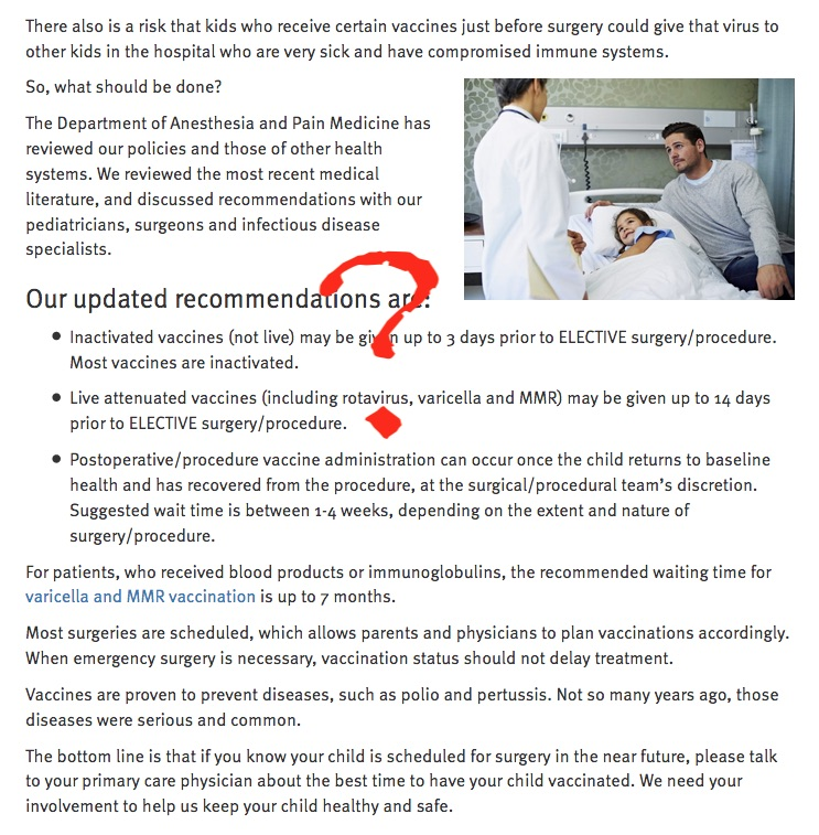 nless they are giving these kids the oral polio vaccine or plan on them sharing a room with a bone marrow transplant patient, they don't need to worry about shedding. But that's only one of the reasons that this hospital's recommendations don't follow ACIP guidelines.