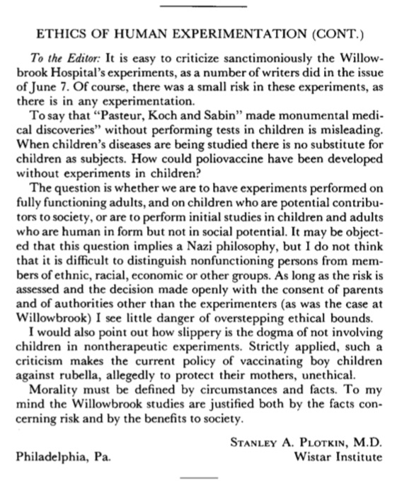 Surprisingly, in the early 1970s, there was still some debate about the ethics of doing experiments on children, and as you can see, using ableist language to describe children with a disability.