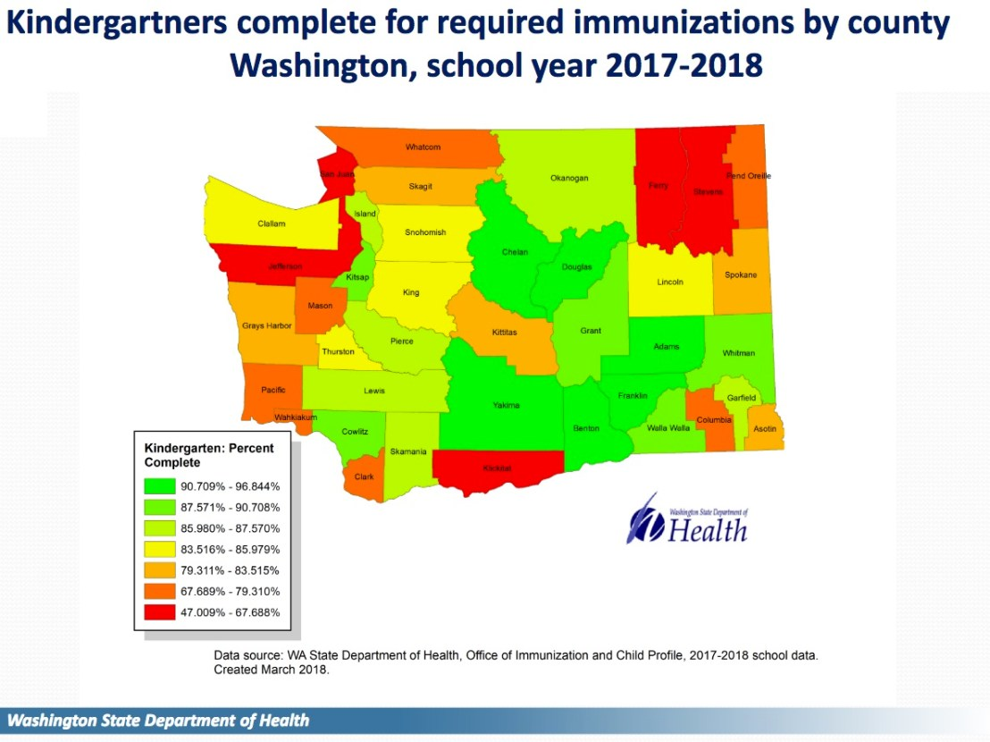 Immunization rates by county in Washington.