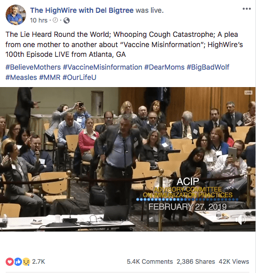 Del Bigtree thinks that it is stupid to have a vaccine against a disease that kills up to 20,400 in the world each year.