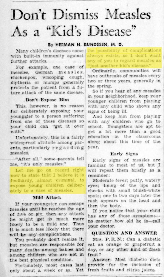 In this 1959 article in the Madera Tribune, Dr. Bundesen warns parents to take measles seriously.
