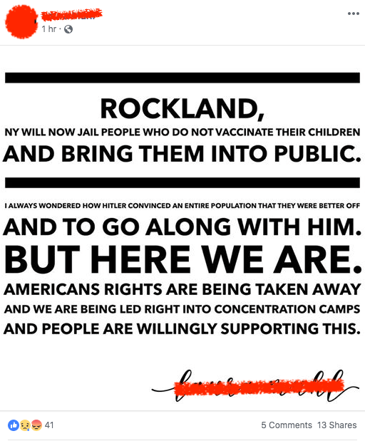 It is offensive to compare the emergency declaration in Rockland county to putting people in concentration camps.