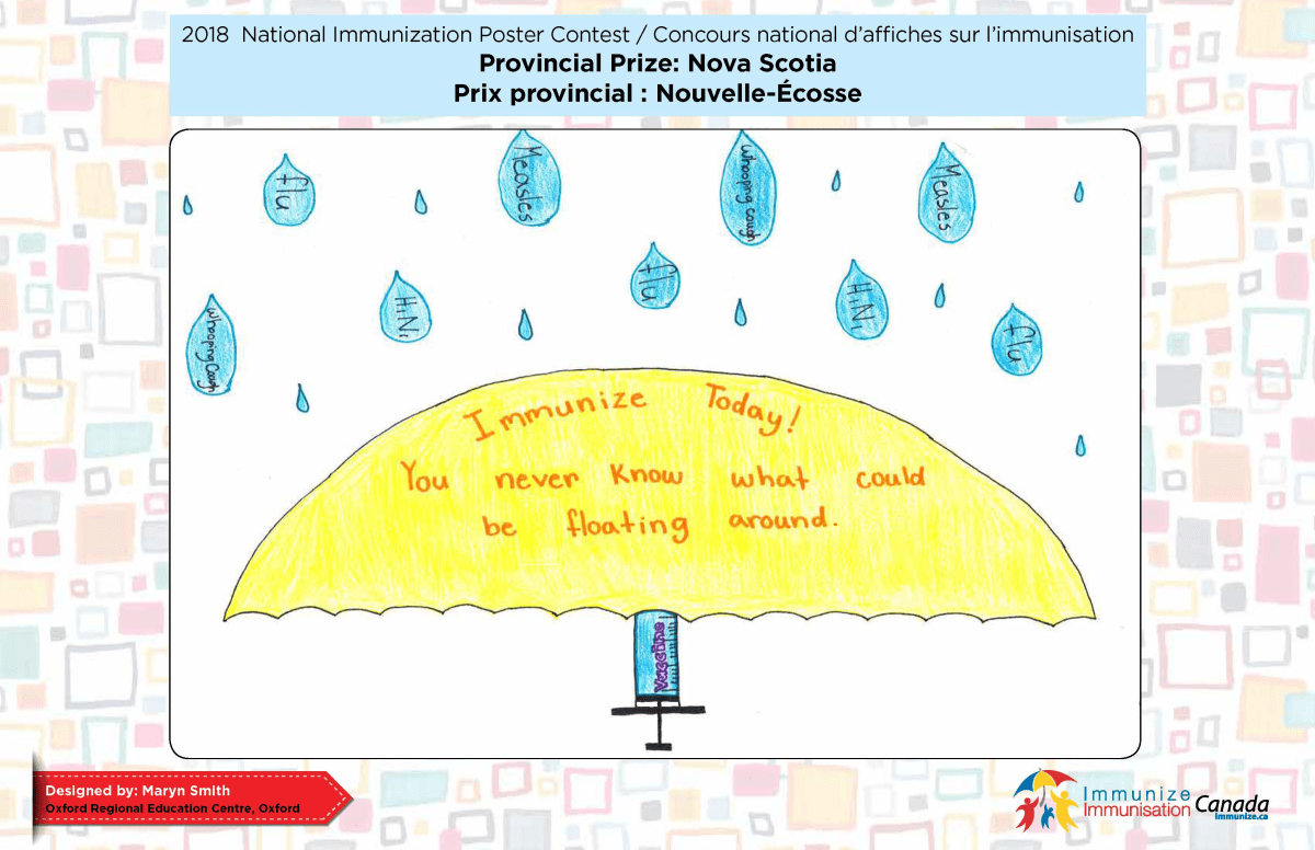 An immunization poster contest winner from Nova Scotia.