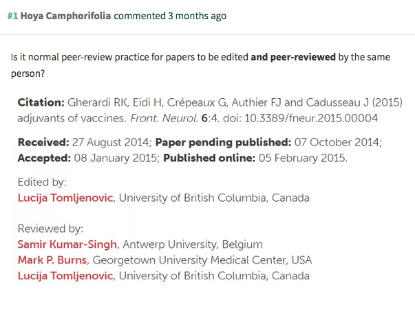 At least one of Gherardi's papers was peer reviewed and edited by the same person.