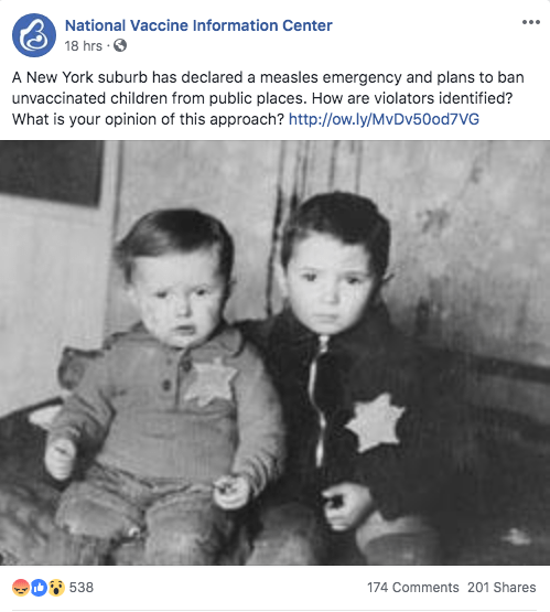 The National Vaccine Information Center is exploiting a photo of five year old Avram Rosenthal and his two year old brother Emanuel of the Kovno ghetto in Lithuania. Both boys were later deported to the death camp at Majdanek where they were murdered.