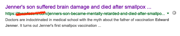 This myth is easy to debunk. Jenner's son that died young was never vaccinated!