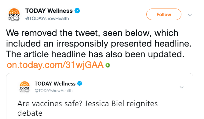 The TODAY Show fixed their mistake and irresponsibe headline that could stoke vaccine fears.