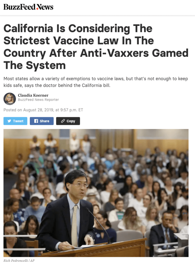 SB276 in California will not be the strictest vaccine law in the country.