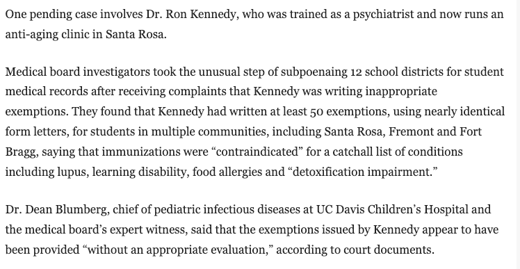 Did Ron Kennedy know these kids since birth and think that vaccines would kill or cripple them because they had a learning disability or food allergies?