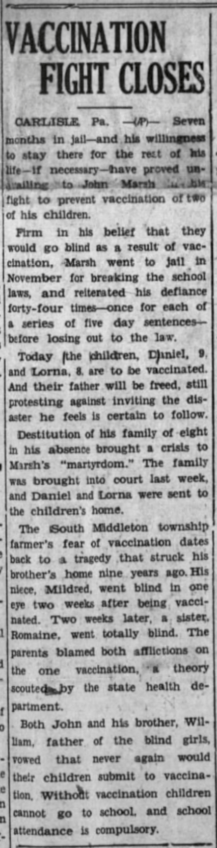 John Marsh was first jailed in 1937 for not vaccinating his kids.