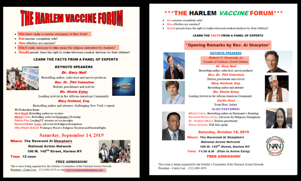 Why is Rev. Al Sharpton associated with the anti-vax Harlem Vaccine Forum?