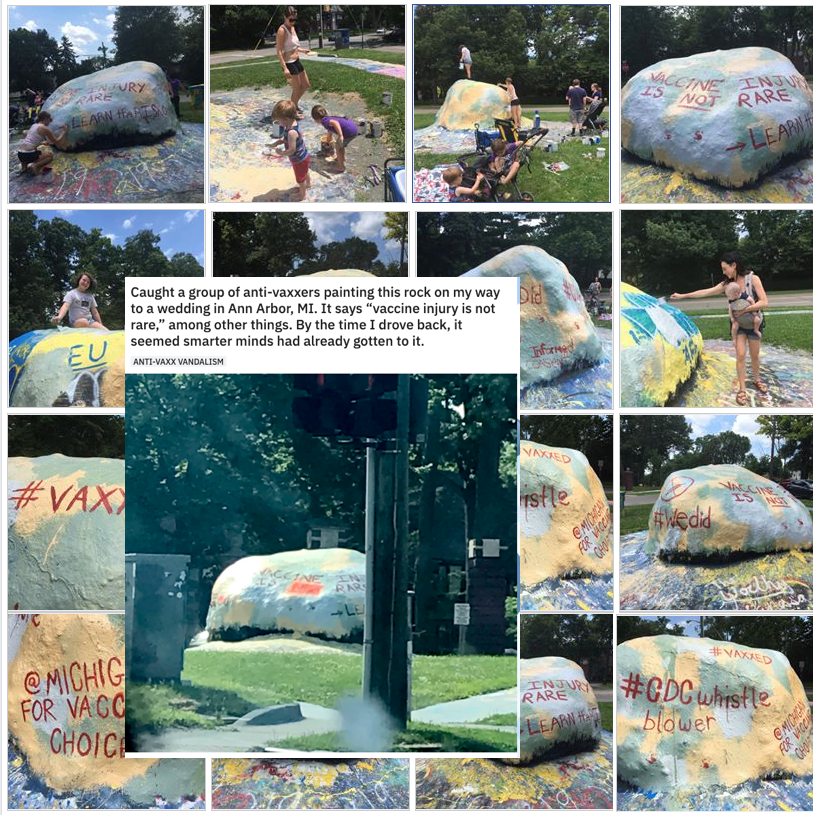 University of Michigan students quickly covered up all of the anti-vax propaganda on this rock.
