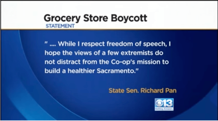 Vaccine extremists called a boycott of a local store because their senator was going to speak at their grand opening.