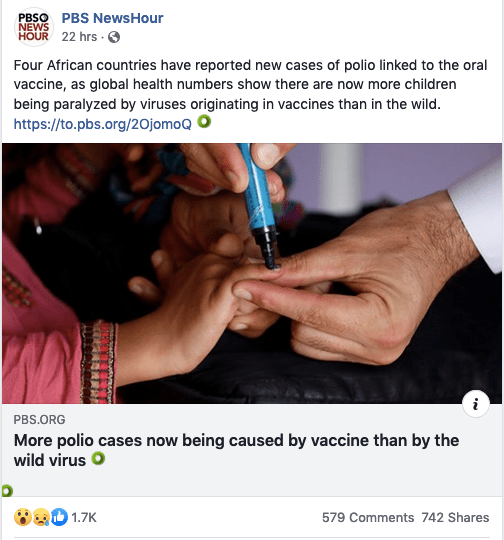 More polio cases are now being caused by the vaccine than by wild polio viruses.