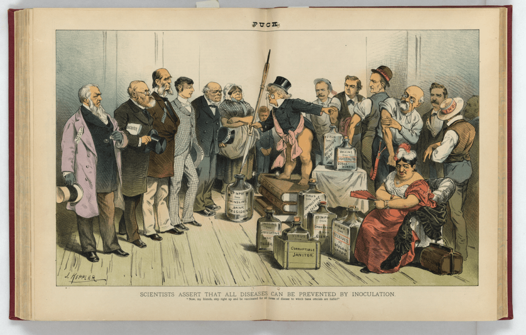 """""""Now, my friends, step right up and be vaccinated for all forms of disease to which bank officials are liable!"""""""