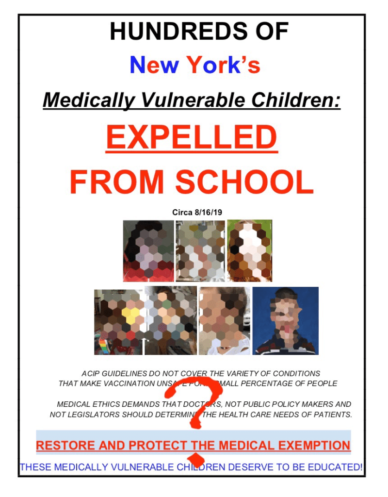 Hundreds of medically vulnerable children were not expelled from school in New York with valid medical exemptions.