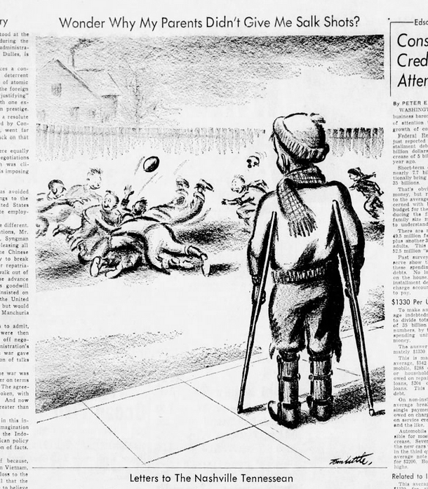 Tom Little's editorial cartoon about an unvaccinated child with polio originally appeared in the Nashville Tennessean on January 12, 1956.