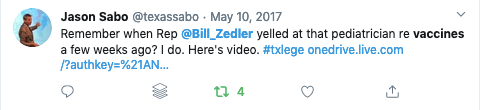 Bill Zedler yelled at a Texas pediatrician because Zedler doesn't understand how VAERS works...