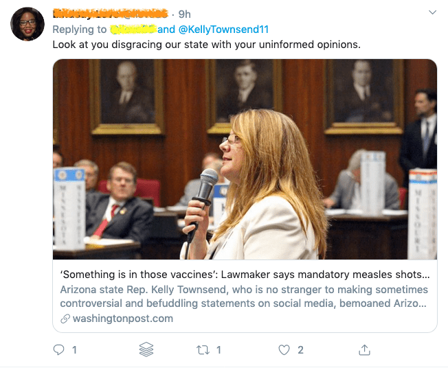 Kelly Townsend says that no scientific evidence will convince her that vaccines are safe, because she believes that her own daughter is vaccine injured.