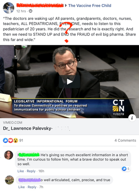 """Lawrence Palevsky has been described as """"an antivaccine pediatrician who's an endless font of misinformation."""" Is this who your legislators are listening to?"""