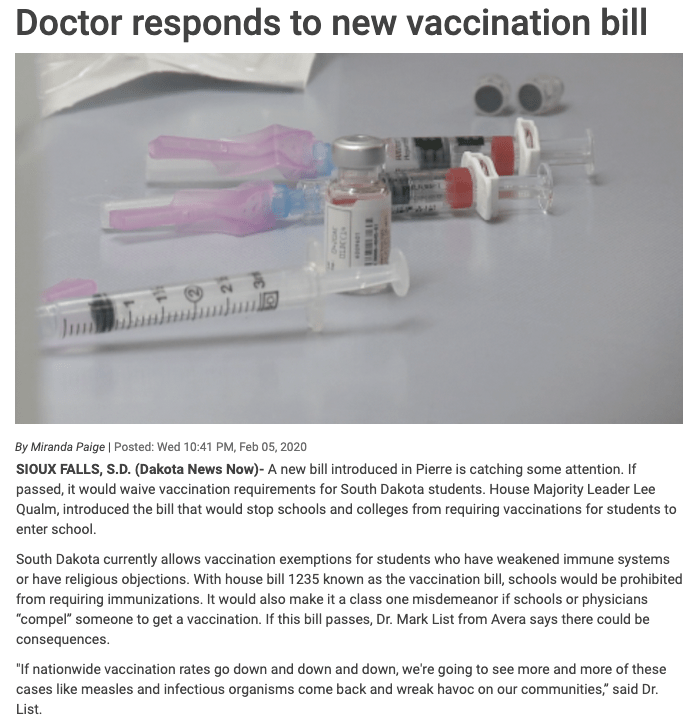 Does House Majority Leader Lee Qualm have any idea why we ever started to have school vaccination requirements?