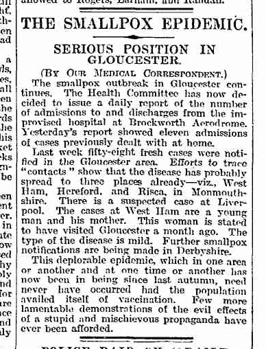 The 1923 smallpox epidemic in Gloucester was blamed on the effects of anti-vaccine propaganda.